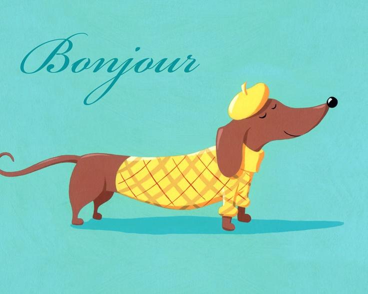 French Pooch Art Print 8 X 10 Horizontal. $15.00, via Etsy.