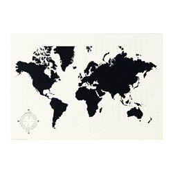 IKEA - MÖLLTORP, Planbord, Motief van Archie Stone.De wereldkaart is een decoratief schilderij én een praktisch krijtbord waarop je bv. je volgende reis kan plannen.