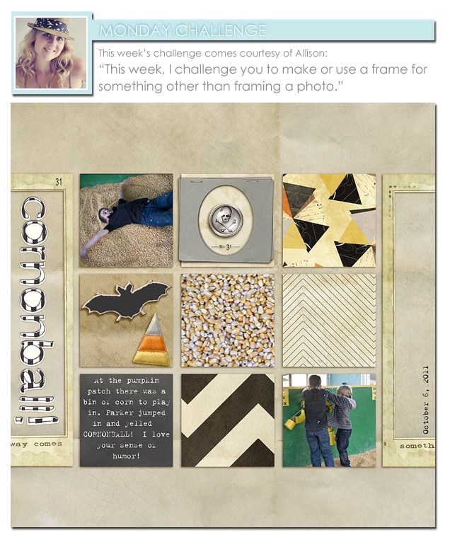 make or use a frame for something other than framing a photo. @Allison Waken #TwoPeas #Digiscrap #scrapbooking