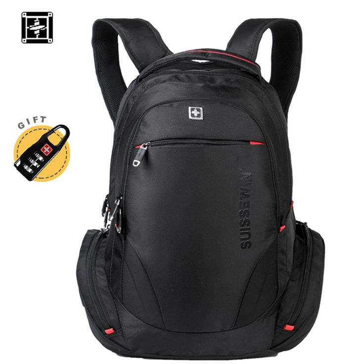 Swiss Backpack Mochila Swissgear Style Black Laptop Backpack Male 38L Waterproof Travel Backpack Multi-Pocket Quality Bagpack