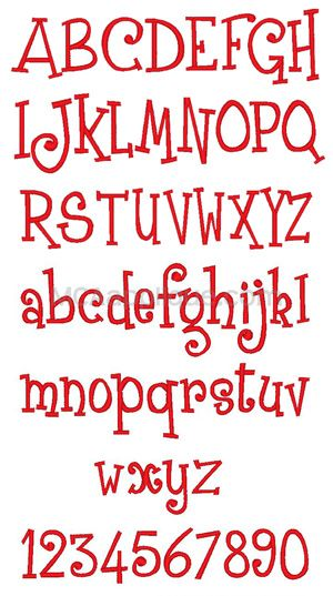 MCA January Embroidery Font
