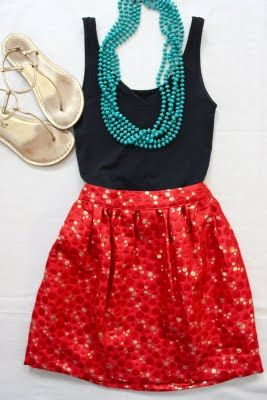nice: Colors Combos, Black Tank, Color Combos, Summer Style, Colors Combinations, Summer Outfits, Necklaces, Summer Clothing, Red Skirts