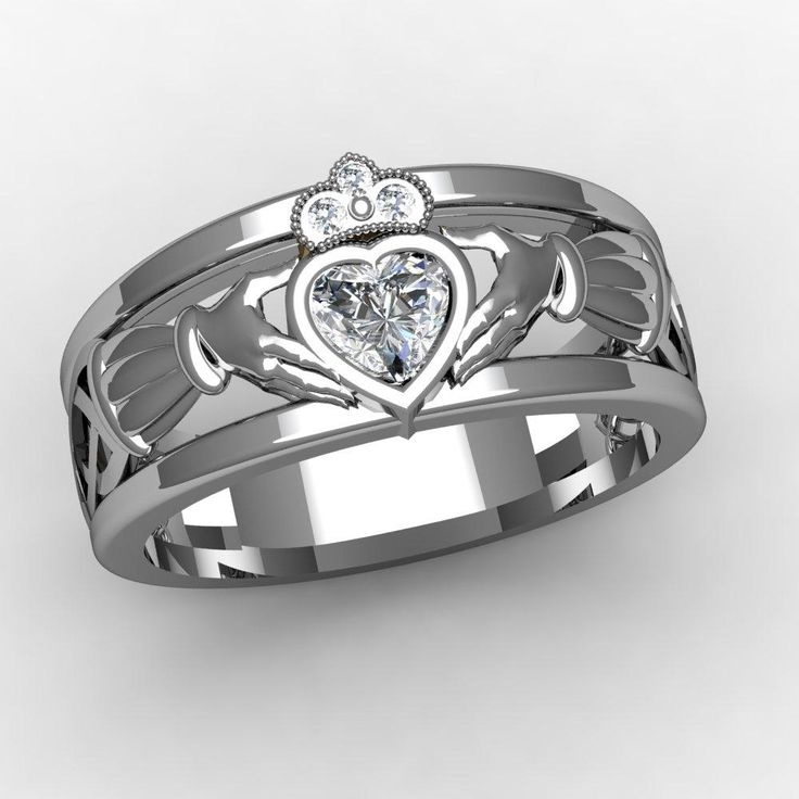claddagh Ring with heart shaped diamond, love this!