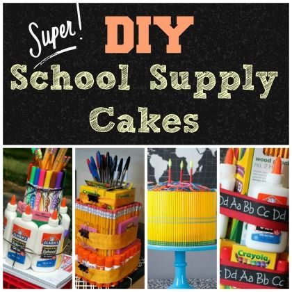 "DIY School Supply Cakes - Celebrate back to school with these creative supply ""cakes"" perfect for a teacher gift!"