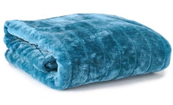Channel Faux Fur Throw Teal By Jason