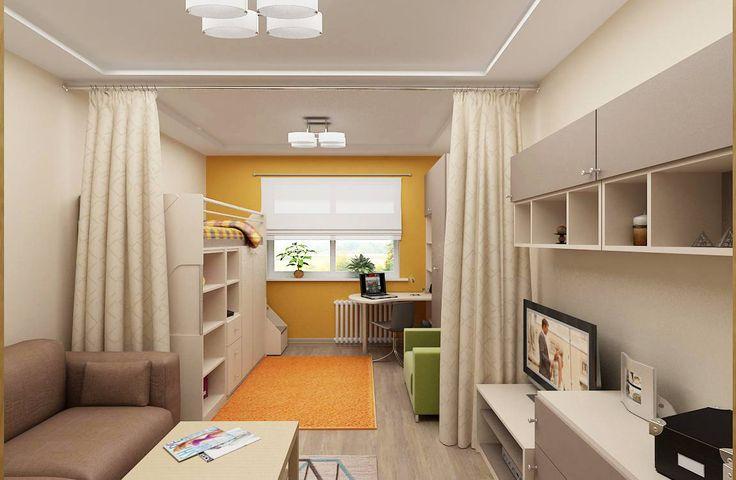 дизайн гостиной-детской за раздвижной шторкой