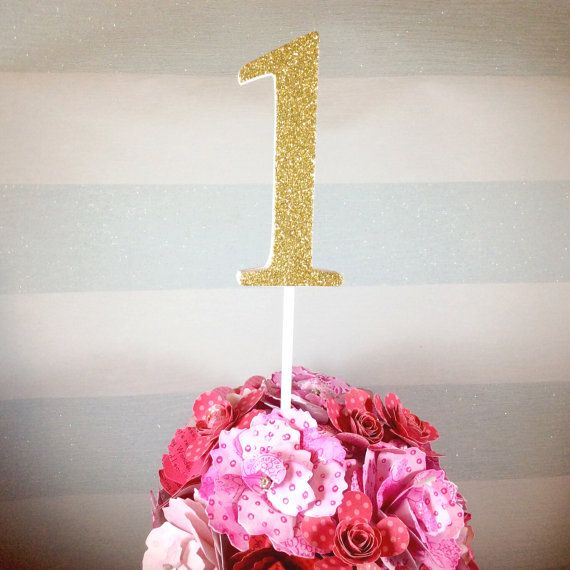 """Large glitter number cake topper by CherryMadeThis. Wedding table centrepieces. Cake smash props - 1st birthday - giant 4 inch (4"""") - gold & pink glitter etc"""