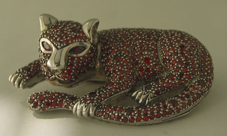 Fabulous Large (67x44mm) Silver and Red Cubic Zirconia Cat Brooch/Pendant -sold