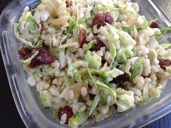 Shaved Brussel Sprout Cranberry Almond Salad