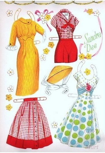 Sandra Dee Paper Dolls 1959 4 Paper Dolls Other