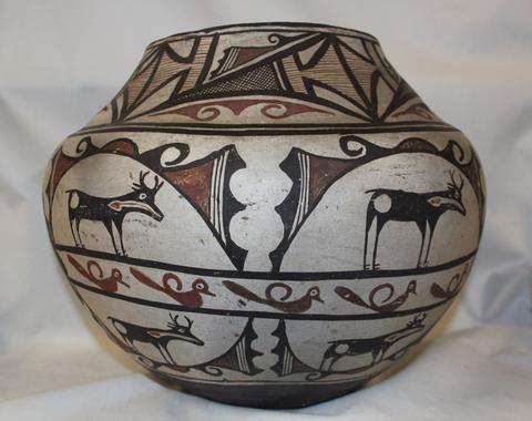 Nativo americano de Zuni Cerámica de almacenamiento Jar # 321
