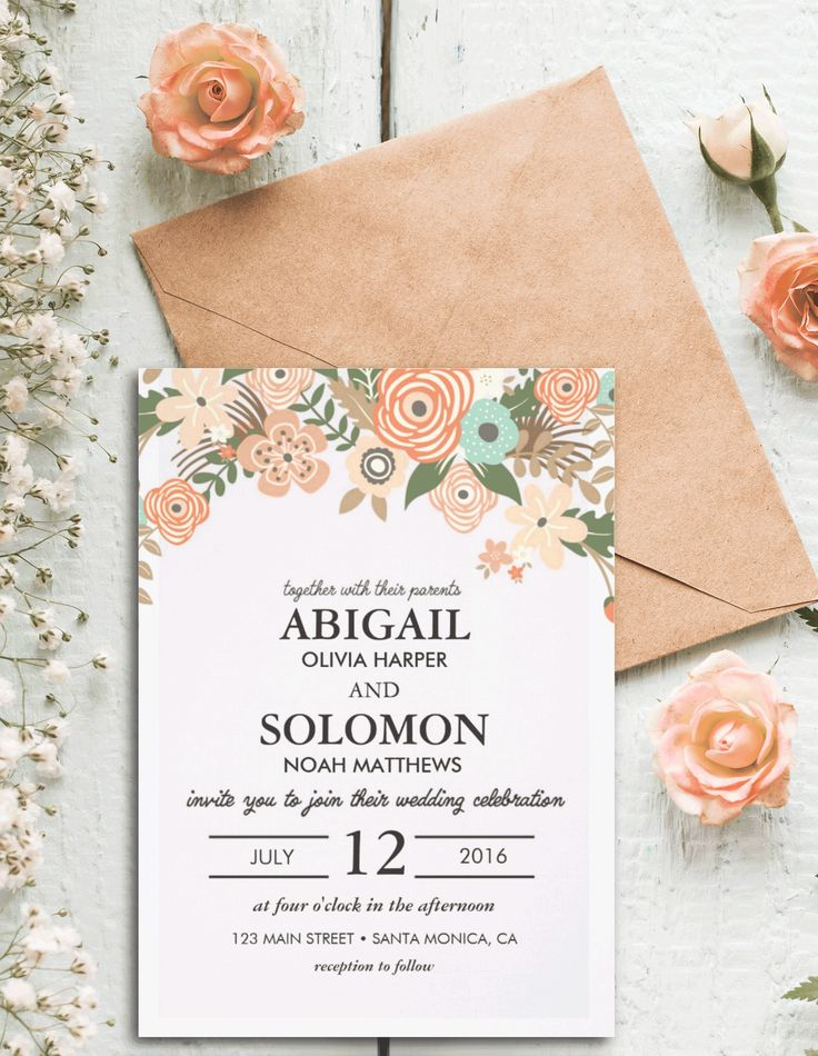 11 best wedding designs images on pinterest wedding designs personalized classic casual floral save the date invitation card stopboris Image collections