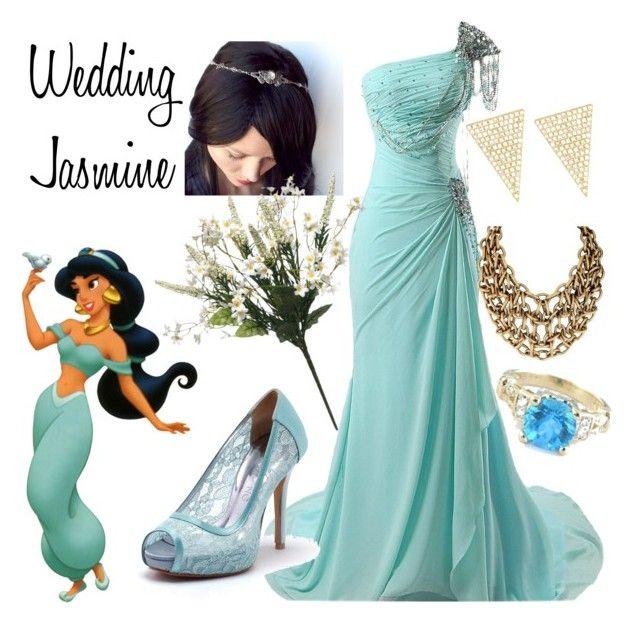 """Wedding Jasmine"" by punkinpyritz ❤ liked on Polyvore featuring Disney, Jennifer Meyer Jewelry, wedding, aladdin and disneybound"