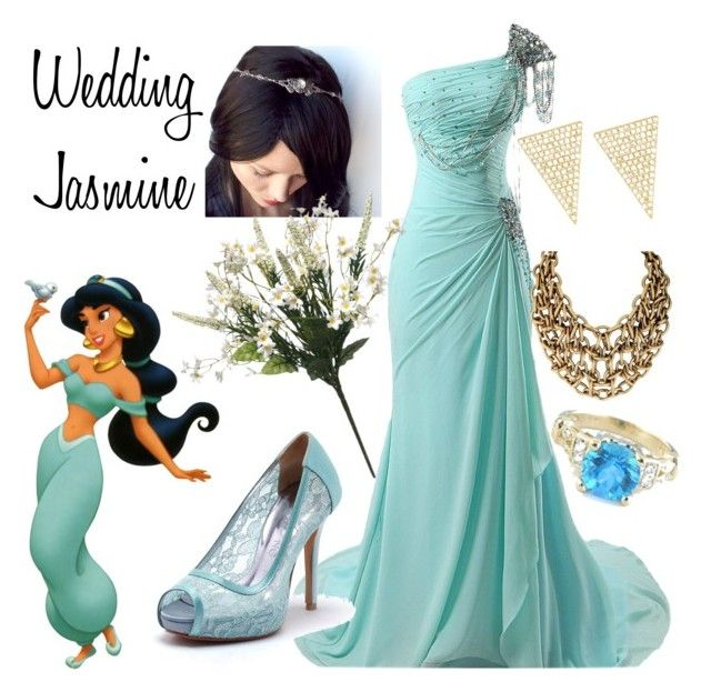 """Wedding Jasmine"" by punkinpyritz ❤ liked on Polyvore featuring Disney, Jennifer Meyer Jewelry, wedding, aladdin and disneybound"