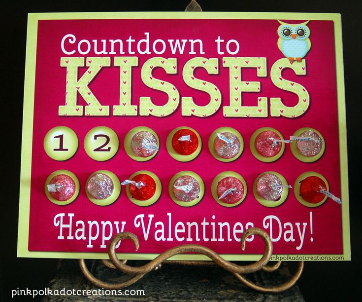 Pink Polka Dot Creations:  Free Printable Valentines Day Countdown to Kisses!