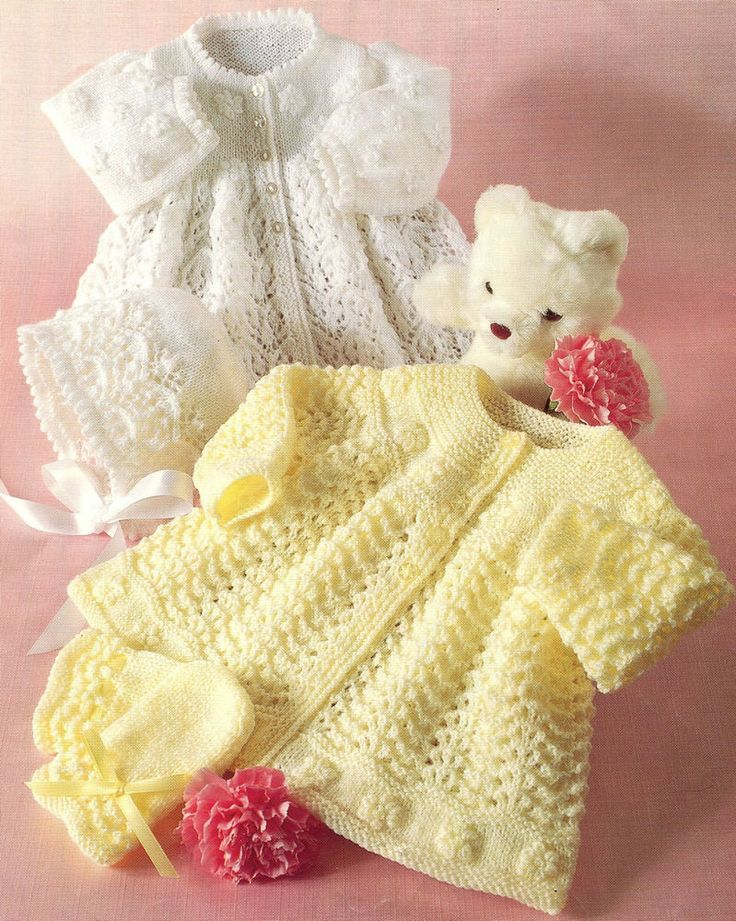 (90) A Knitting Pattern for Matinee Coats, Bonnet and Mittens