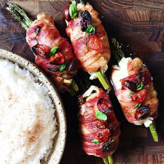 Rullet kyllingebryst med asparges og bacon | mariavestergaard