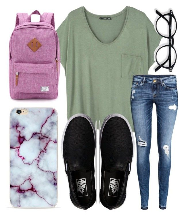 """School outfit✌"" by jadenriley21 on Polyvore featuring MANGO, H&M, Vans and Herschel Supply Co."