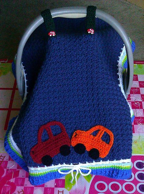 Crochet Baby Car Seat Cover with Free Pattern