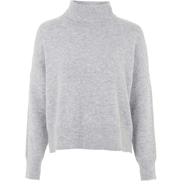 TOPSHOP Zip Back Roll Neck Sweater ($70) ❤ liked on Polyvore featuring tops, sweaters, topshop, light grey, topshop sweaters, jumper top, topshop jumper, zipper back top and jumpers sweaters