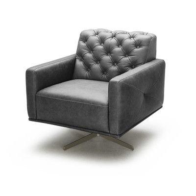 J&M Furniture Othello Italian Leather Swivel Chair & Reviews | Wayfair