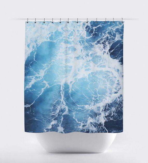 Blue Ocean Surf Shower Curtain Deep Blue Seascape by NatureCityCo