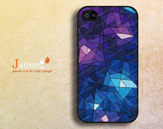cool  iphone 4 cases, iphone 4s cases, apple iphone case 4,iphone 4 cover , with blue glass design F404 on Etsy, $8.99