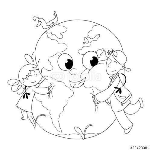 """Scarica l'immagine Royalty Free """"Bambini felici che abbracciano la terra, da colorare"""" creata da carlacastagno al miglior prezzo su Fotolia . Sfoglia la nostra banca di immagini online per trovare la foto perfetta per i tuoi progetti di marketing a prezzi imbattibili!"""