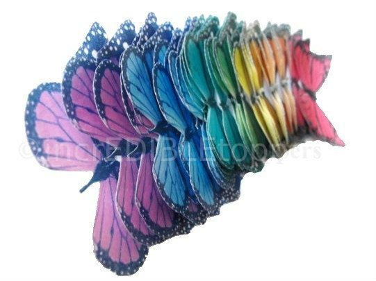 50 Monarch Rainbow  - small Edible Butterflies - Cake Decorations, Butterflies For Cakes, Cake Supplies, Bakery Supply Shop