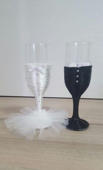 Taças decoradas p/ noivos / Chá Bar (Par