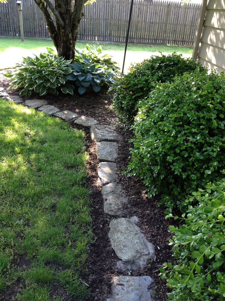 Stone edging I did this to my flower beds about 10 years