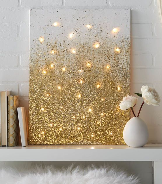 Glitter and Lights Canvas diy