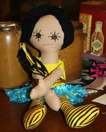 """Pouty Patty 15"""" Handmade Rag Doll"""