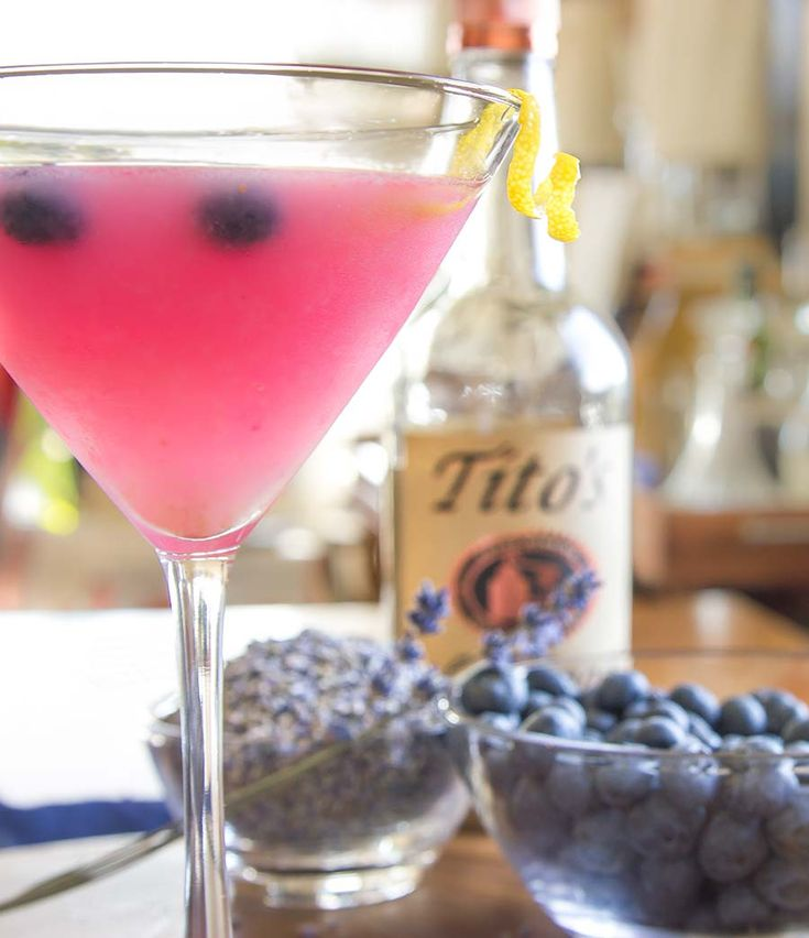 Fresh blueberry martini with lavendar simple syrup cocktail recipe from Nordstrom. Photo by Jeff Powell.