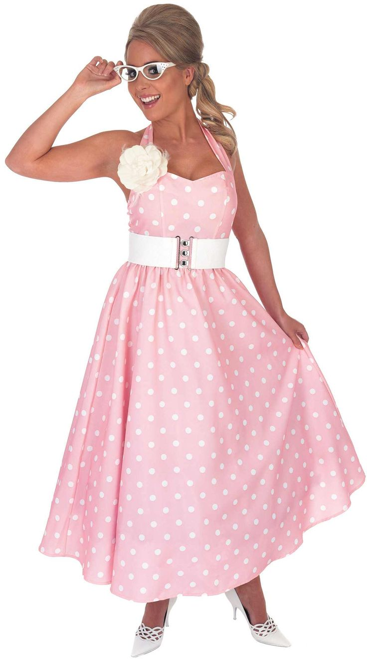 Ladies 1950S Pink Day Dress Costume for Rock N Roll Grease Fancy Dress Up Outfit[L 1950S Pink Day Dress]