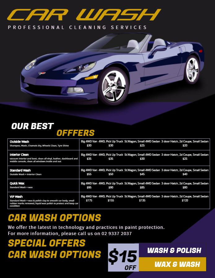 Modern Car Wash Price List Flyer Template Price List Templates