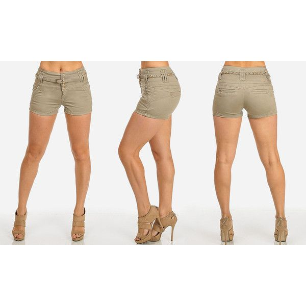 Women's ModaXpressOnline.com Women's Mid-Rise or High-Waist Twill... ($13) ❤ liked on Polyvore featuring shorts, beige, shorts & capris, highwaist shorts, high waisted shorts, mid rise shorts, twill shorts and high-rise shorts