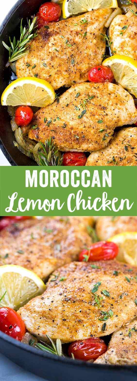 Moroccan Lemon Chicken Recipe - A quick one pan meal seasoned with Mediterranean spices, herbs, and lemon slices. via @foodiegavin