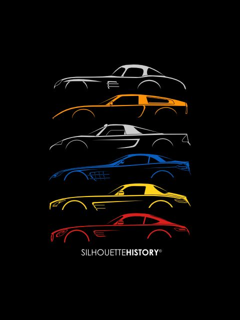 Mercy Sports Car SilhouetteHistorySilhouettes of Mercedes sports cars and including concepts: 300 SLR Uhlenhaut Coupe (W198), C111 II, C112, McLaren SLR (C199), SLS AMG (C197), AMG GT (C190).Home | FB | Instagram | Twitter | Shop