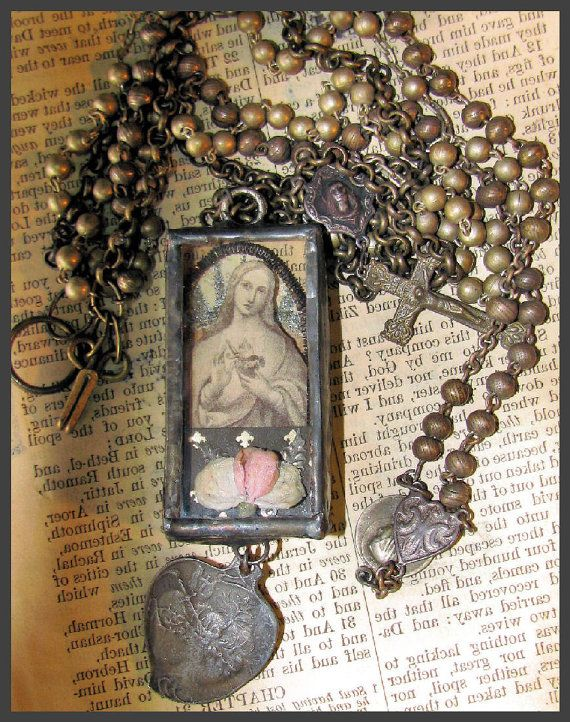 Gothic Virgin Mary Reliquary Necklace by thesacredmaiden on Etsy, $188.00