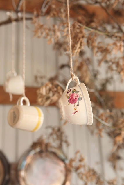tea cup hung up with string