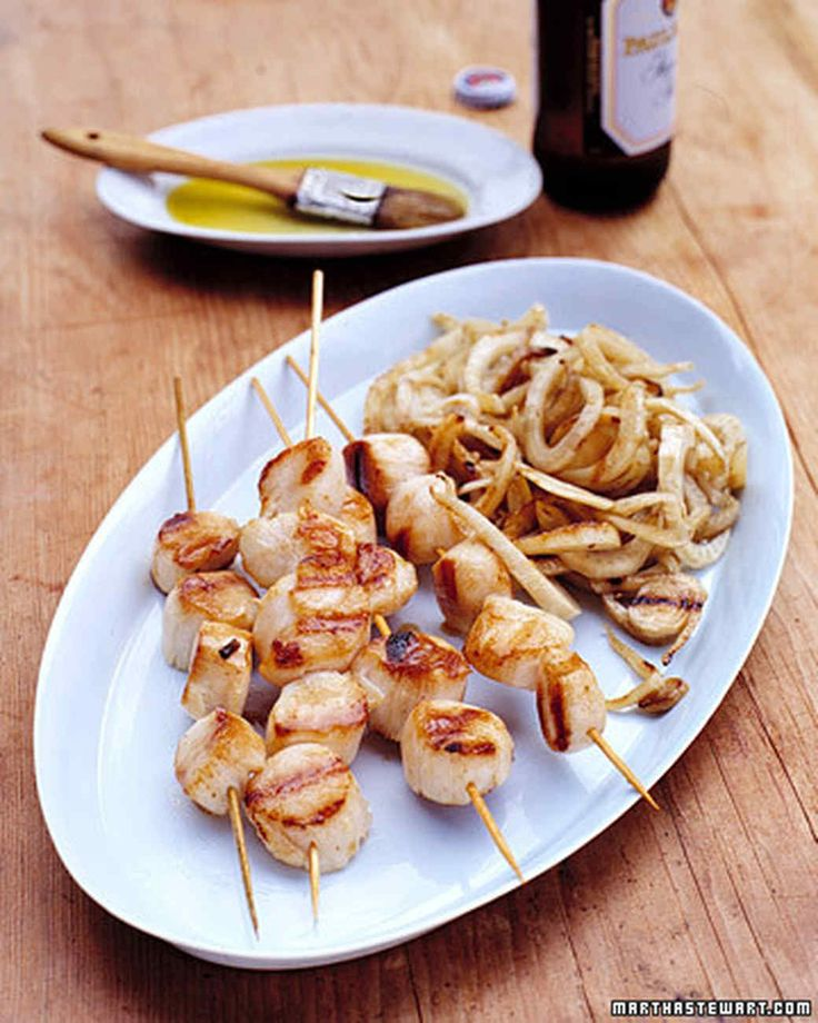 Grilled Sea Scallops and Fennel   Martha Stewart Living - Use the grilled scallops to top our Mixed Fresh Herb Pasta.