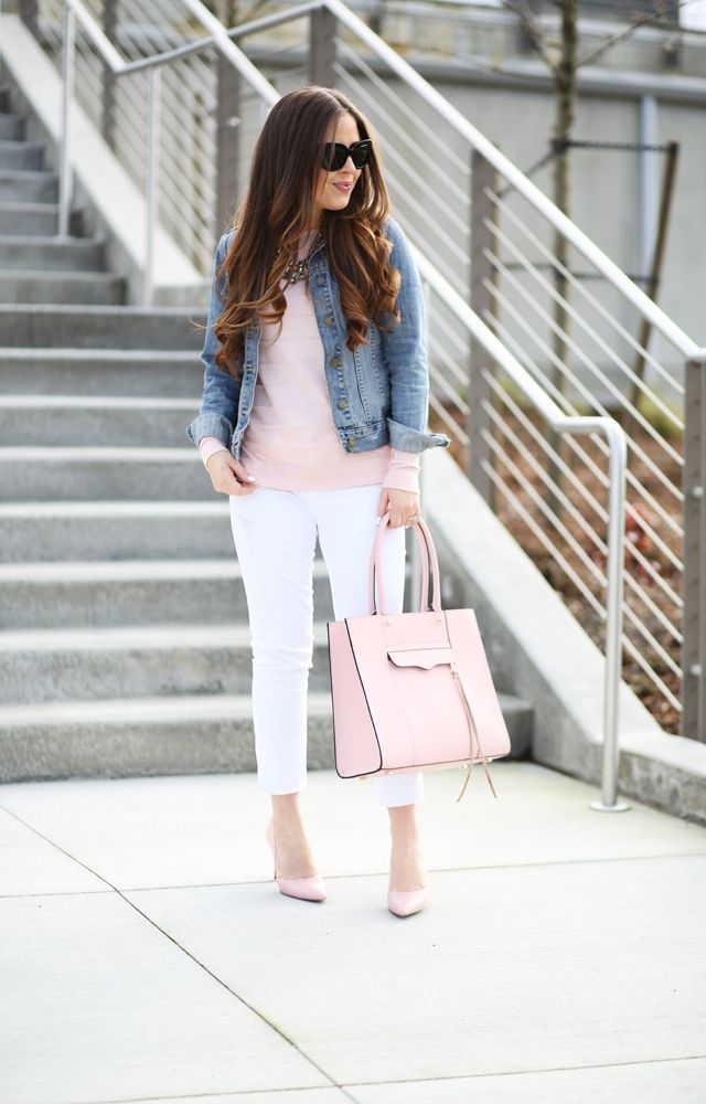 jean jacket, pale pink sweater, statement necklace, white skinny jeans, pale pink bag, neutral heels