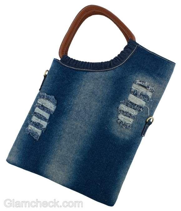 portrait denim bag with side wooden handle