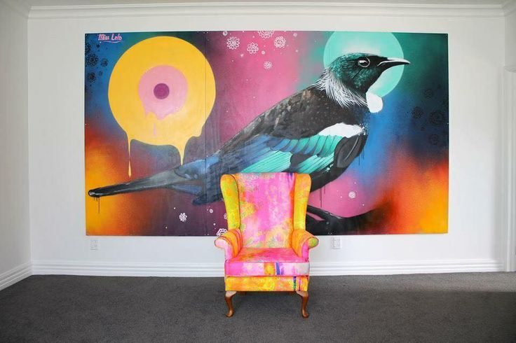 Tui & a Miss Lolo Chair #bird #art #mural #painting #colour #interior #design #house #furniture