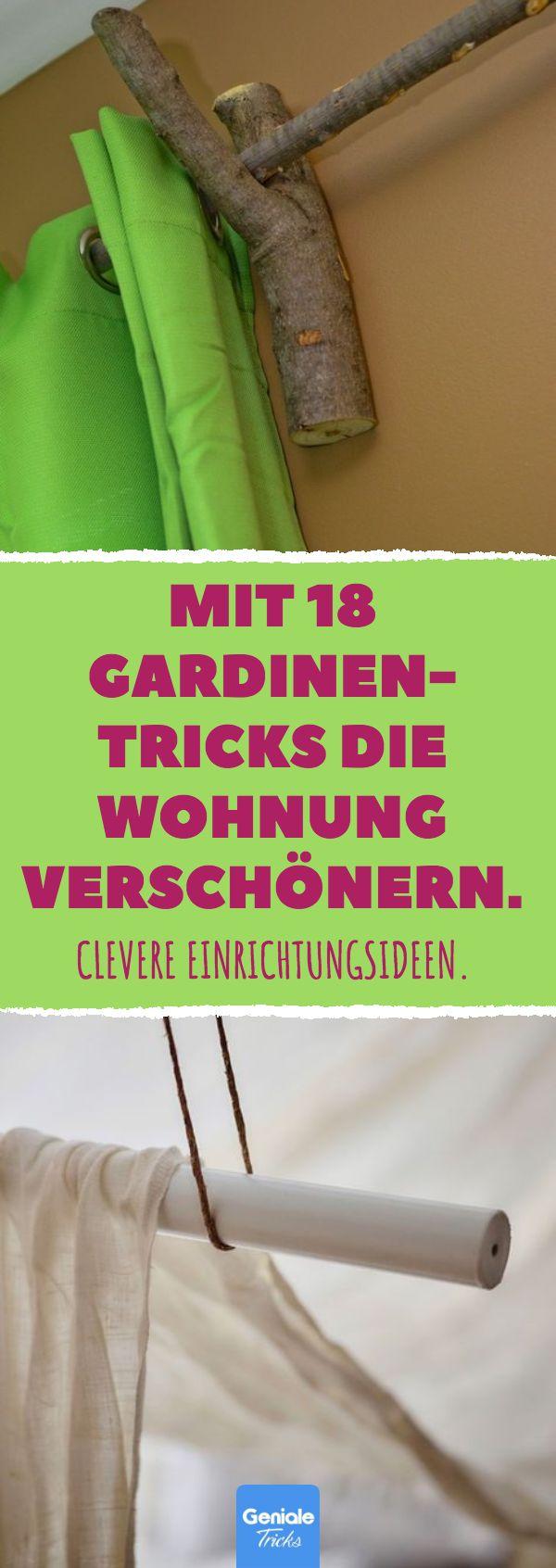 Mit 18 Gardinen-Tricks die Wohnung verschönern. 18 schöne Einrichtungsideen mit Gardinen und Gardinenstangen. #DIY #Einrichtung #Ideen #Gardinen