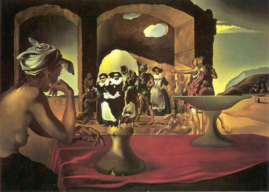 """The surrealist paintings of mustached maestro Salvador Dalí were all about playing with our minds. One of his most famous pieces, """"Slave Market with the Disappearing Bust of Voltaire,"""" is now being used by researchers from Glasgow University to understand how our brains process visual information."""