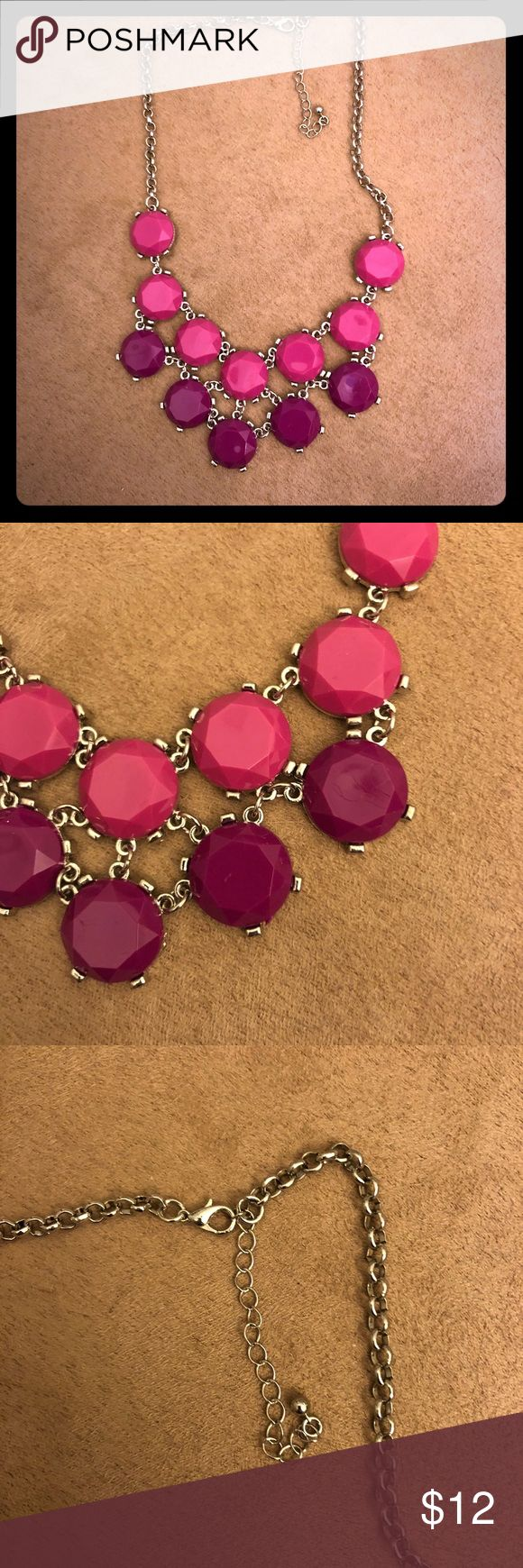 Pink & Purple Statement Necklace NWOT Pink and Purple Statement Necklace, standard clasp closing Silver accents Jewelry Necklaces