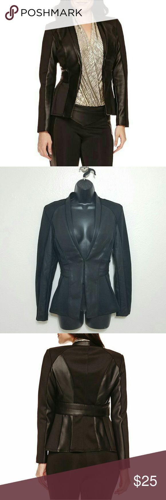 "BISOU BISOU Seamed Scuba/Leather Jacket NWT!  BISOU BISOU  Size M  Scuba material & faux leather seams make these jacket chic & sporty. Stretchy & comfortable, defined waist creates hourglass shape.  black polyester/spandex  16"" across waist without stretching fabric  25"" shoulder to hem Bisou Bisou Jackets & Coats"