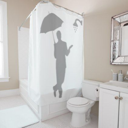 Man Umbrella Funny Shadow Silhouette Behind Shower Curtain - shower curtains home decor custom idea personalize bathroom